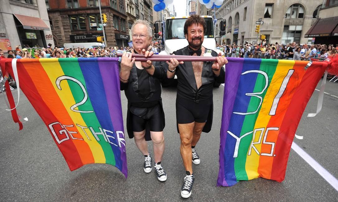 Ativistas pelos direitos homossexuais em passeata em Nova York Foto: Stan Honda / AFP