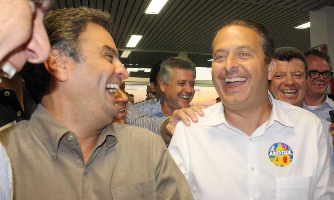 Aécio e Campos estiveram juntos em Uberaba para a campanha de candidato do PSB e evitaram dar maiores significados à atuação conjunta neste segundo turno Foto: Jornal de Uberaba