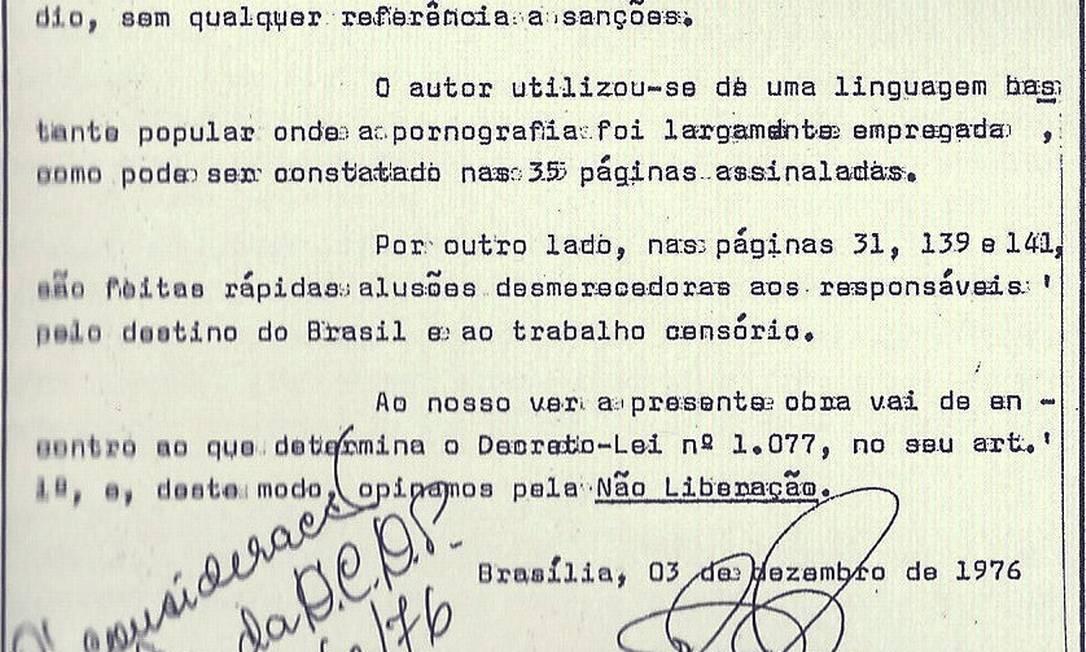 Reprodução de documento em que livro de Rubem Fonseca é censurado pela ditadura