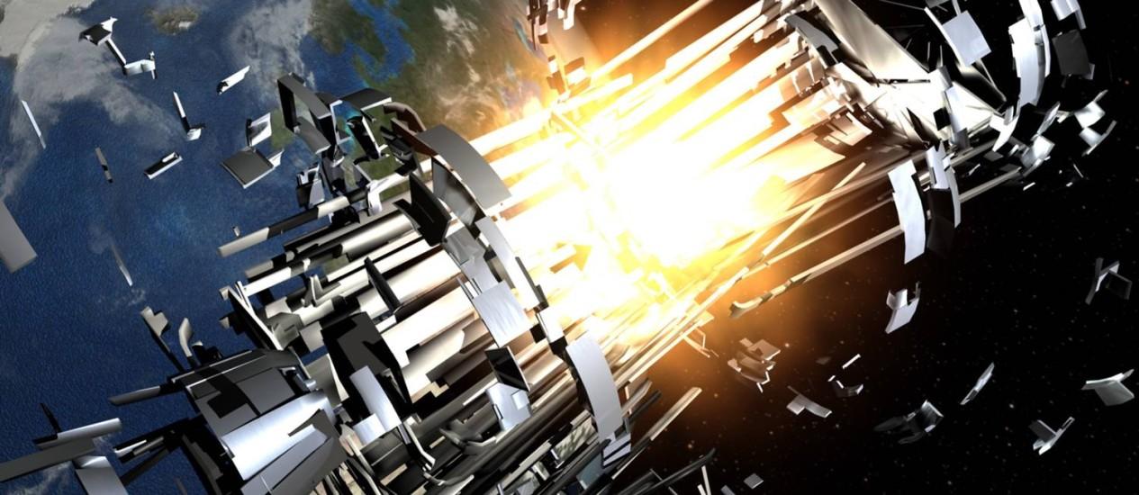 A ilustração da Agência Espacial Europeia (ESA) mostra a explosão de um estágio de foguete na órbita da Terra. Foto: Divulgação/ESA