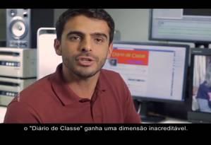 """Imagem de um vídeo do candidato Cesar Souza Júnior mostrando o """"Diário de Classe"""" Foto: Reprodução"""