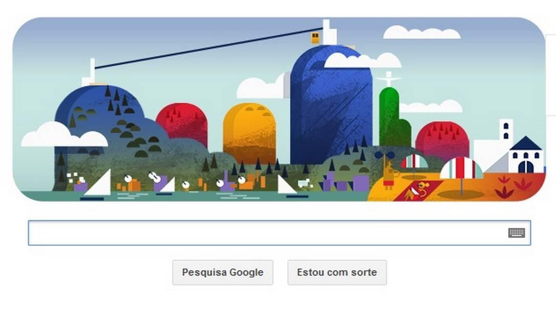O Google homenageia neste sábado o bondinho do Pão de Açúcar, que comemora cem anos Foto: Reprodução