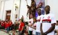 No dia de São Judas Tadeu, jogadores do Flamengo compareceram à paróquia do santos