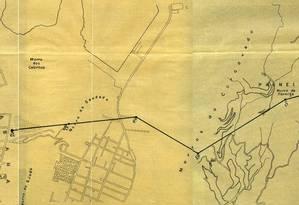 Parte do mapa do teleférico que ligaria Copacabana à Tijuca Foto: Reprodução