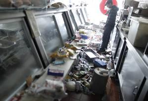 Uma mercearia em Nova York após a inundação: estragos causados pela tempestade Sandy Foto: Reuters
