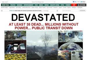 Portal de notícias Huffington Post esteve entre os sites que saíram do ar por conta da tempestade Sandy. Acesso foi reestabelecido na tarde desta terça-feira, segundo o provedor Datagram Inc. Foto: Reprodução