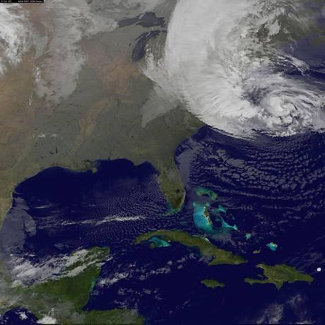O Sandy em ação, em imagem da Nasa divulgada esta terça-feira Foto: Divulgação