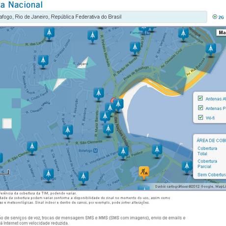 O mapa detalhando áreas de cobertura total, parcial e regiões de sombra dos serviços da operadora, seja de voz, 2G ou 3G, é uma das grandes novidades do portal Foto: Divulgação