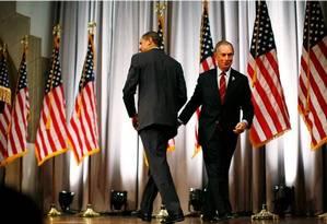 Obama e Bloomberg em 2008: apoio quatro anos depois Foto: Damon Winter/The New York Times