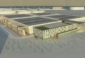 Centro de mídia. O projeto da unidade de transmissões a ser erguida na área do antigo Autódromo de Jacarepaguá: o objetivo é repassar o custo da construção à iniciativa privada Foto: Divulgação