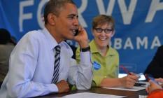 Obama, que votou antecipadamente, visitou comitê de campanha em Washington Foto: Jewel Samad / AFP
