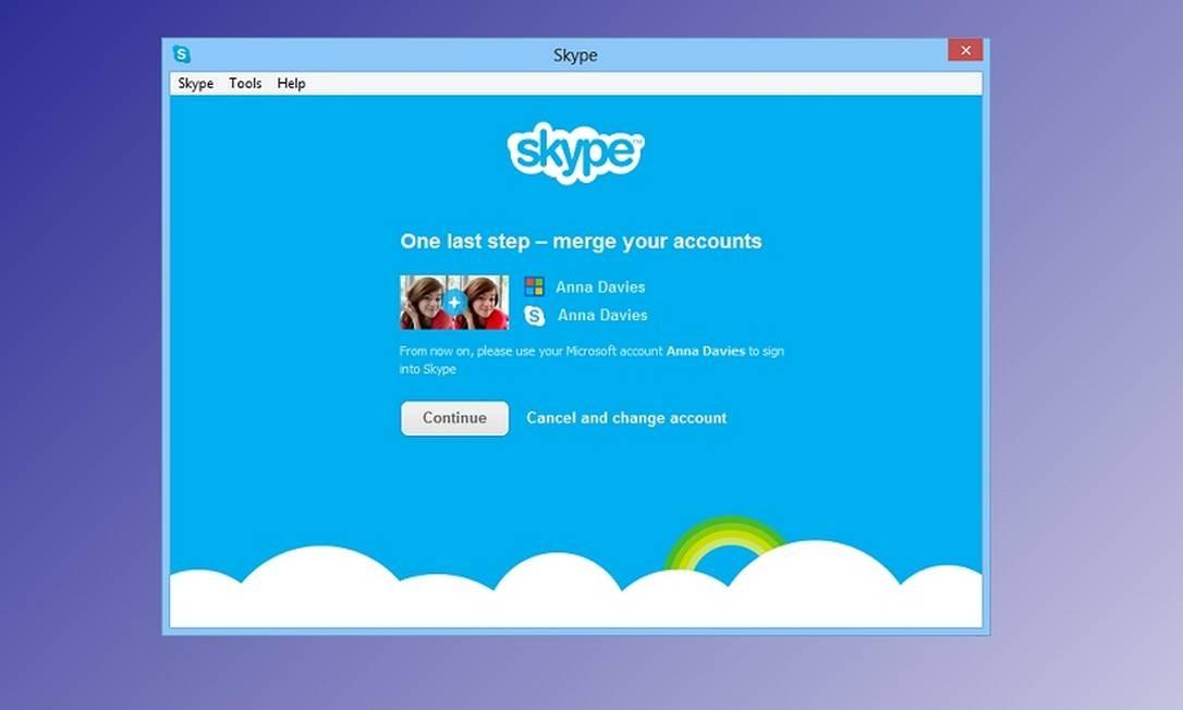 Tela em que o usuário mescla suas identidades no Messenger e no Skype Foto: Reprodução da internet
