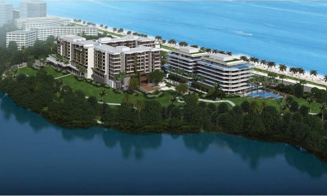 Novo empreendimento. O croqui do resort que será erguido no início da Praia da Reserva, na Barra da Tijuca Foto: Divulgação