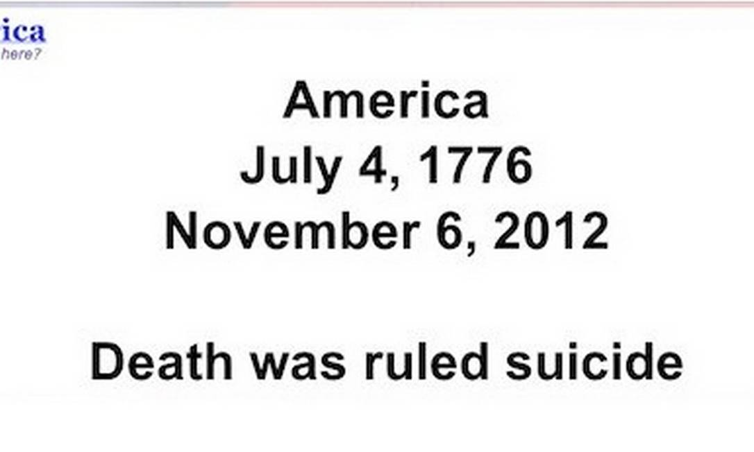 Obituário dos Estados Unidos feito pelo movimento Tea Party em Cincinnati Foto: Internet / Reprodução