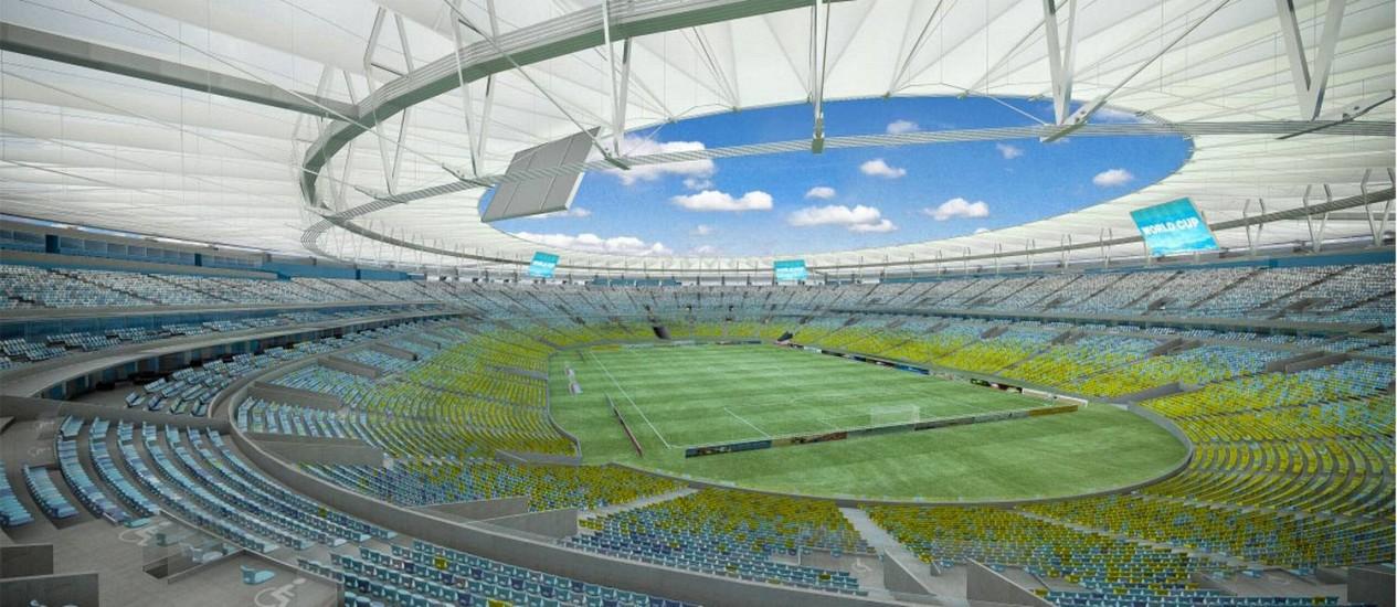 A lona do estádio cobrirá cerca de 75 mil dos 78 mil assentos. Acima, a projeção da cobertura do Maracanã Foto: Rafael Mello de Lucena / Divulgação governo do estado