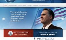 Home do site preparado para a eleição de Romney Foto: Internet / Do 'Political Wire'