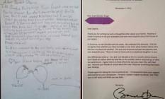 A carta de Sophia a resposta de Obama Foto: Reprodução