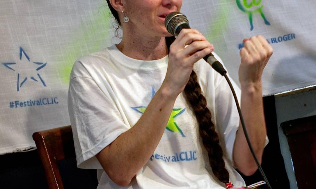 A ativista cubana Yoani Sánchez durante a inauguração do Clic festival, em junho, em Havana Foto: AFP/ADALBERTO ROQUE