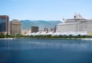 Paredão. A montagem mostra como ficaria o futuro Museu do Amanhã diante de um transatlântico atracado. O píer em Y terá capacidade para 6 navios Foto: Reprodução