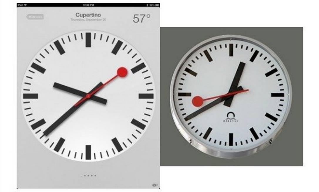À esquerda, o relógio do iPad, comparado com o relógio suíço criado em 1944 por Hans Hilfiker Foto: Reprodução da internet