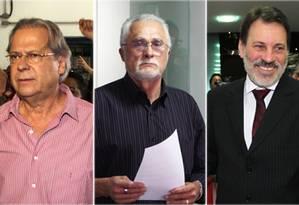 José Dirceu, José Genoino e Delúbio Soares: petistas condenados pelo mensalão Foto: Montagem/O Globo
