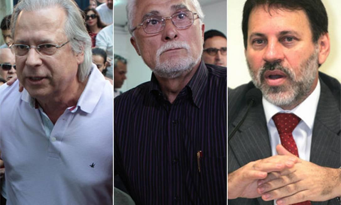 José Dirceu, José Genoino e Delúbio Soares: cúpula petista condenada no mensalão Foto: Fotomontagem / Editoria de Arte
