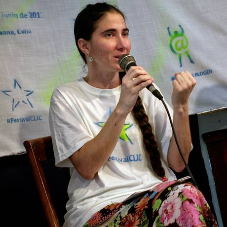 A blogueira Yoani Sanchéz durante inauguração do Clic Festival, em junho do ano passado Foto: AFP/ADALBERTO ROQUE