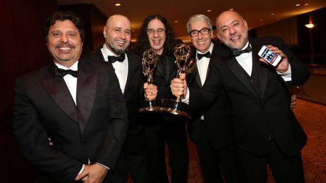 Os vencedores Mauro Wilson, Mauro Mendonça Filho, Geraldo Carneiro, Alcides Nogueira e Claudio Torres Foto: Luiz Ribeiro/ TV Globo
