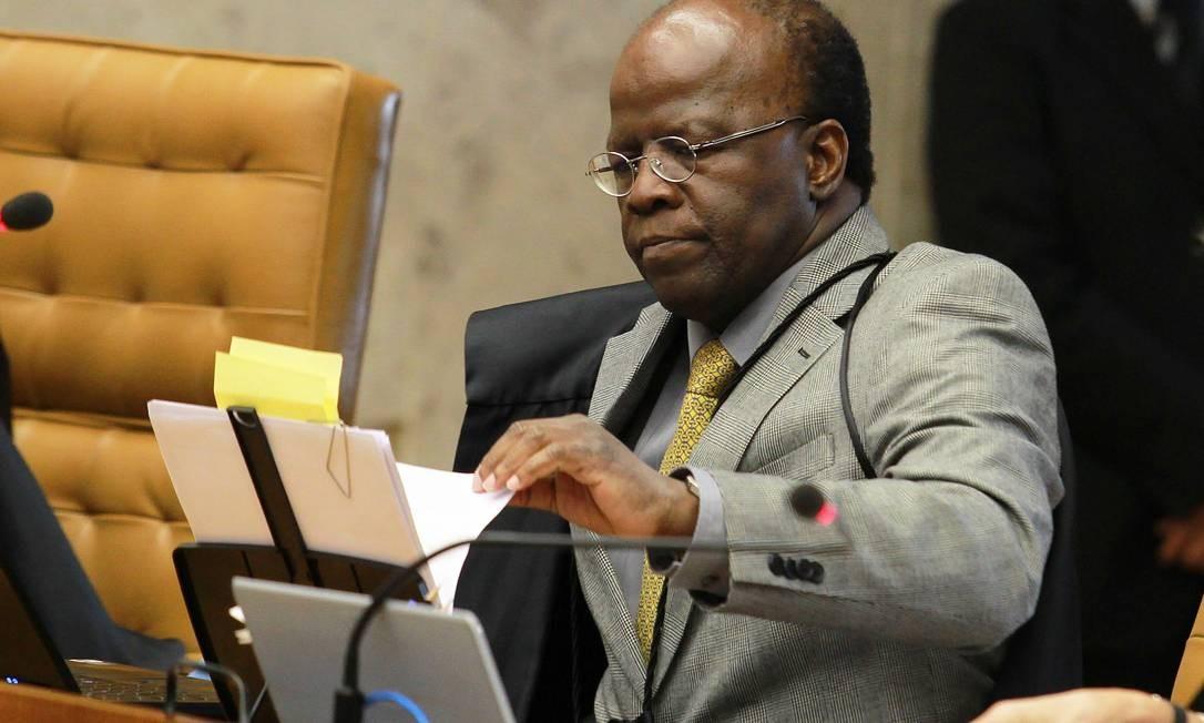 Ministro, devido ao seu papel de relator no proceso do mensalão, falou durante mais tempo no julgamento Foto: Agência O Globo / Ailton de Freitas