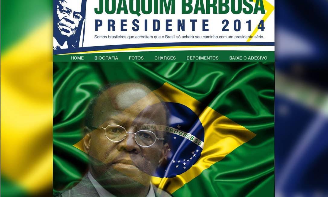 Internautas criaram site em homenagem a Barbosa. Eles pedem a sua candidatura à Presidência da República Foto: Reprodução