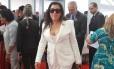 A atriz Regina Casé, quando chegava ao STF, para a posse do ministro Joaquim Barbosa