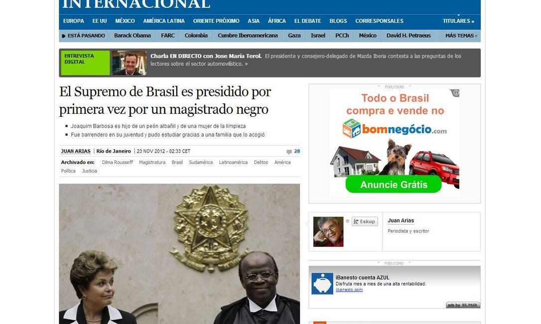 O jornal espanhol 'El País' informou que Joaquim Barbosa é filho de uma ex-empregada doméstica e um pedreiro e que ele fala vários idiomas Foto: Reprodução