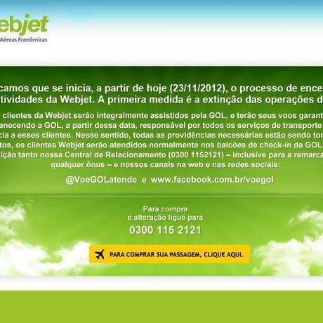 Comunicado no site da Webjet orienta sobre remarcação de passagens Foto: Reprodução