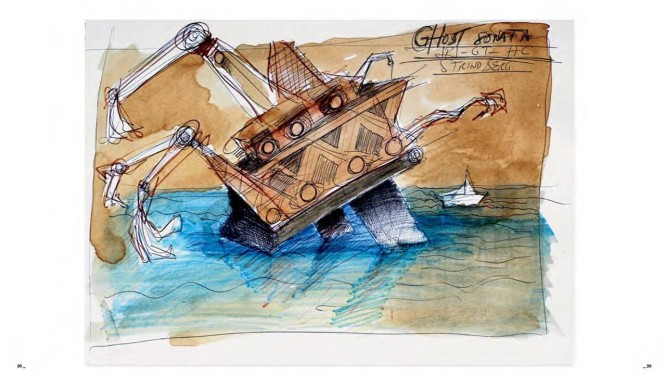 """O desenho para o cenário da futura """"Ghost sonata"""" (no alto) e a ilustração para o """"New York Times"""" (à esquerda) estão no livro """"Arranhando a superfície"""": lançamento na terça Foto: Reproduções"""