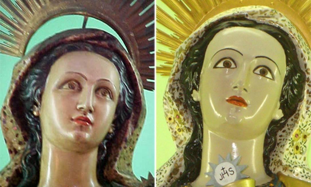 A imagem de Santa Bárbara, do século XIX, na Fortaleza de Santa Cruz, antes, em 2002, e agora, em ângulos diferentes Foto: Milton Teixeira / Divulgação