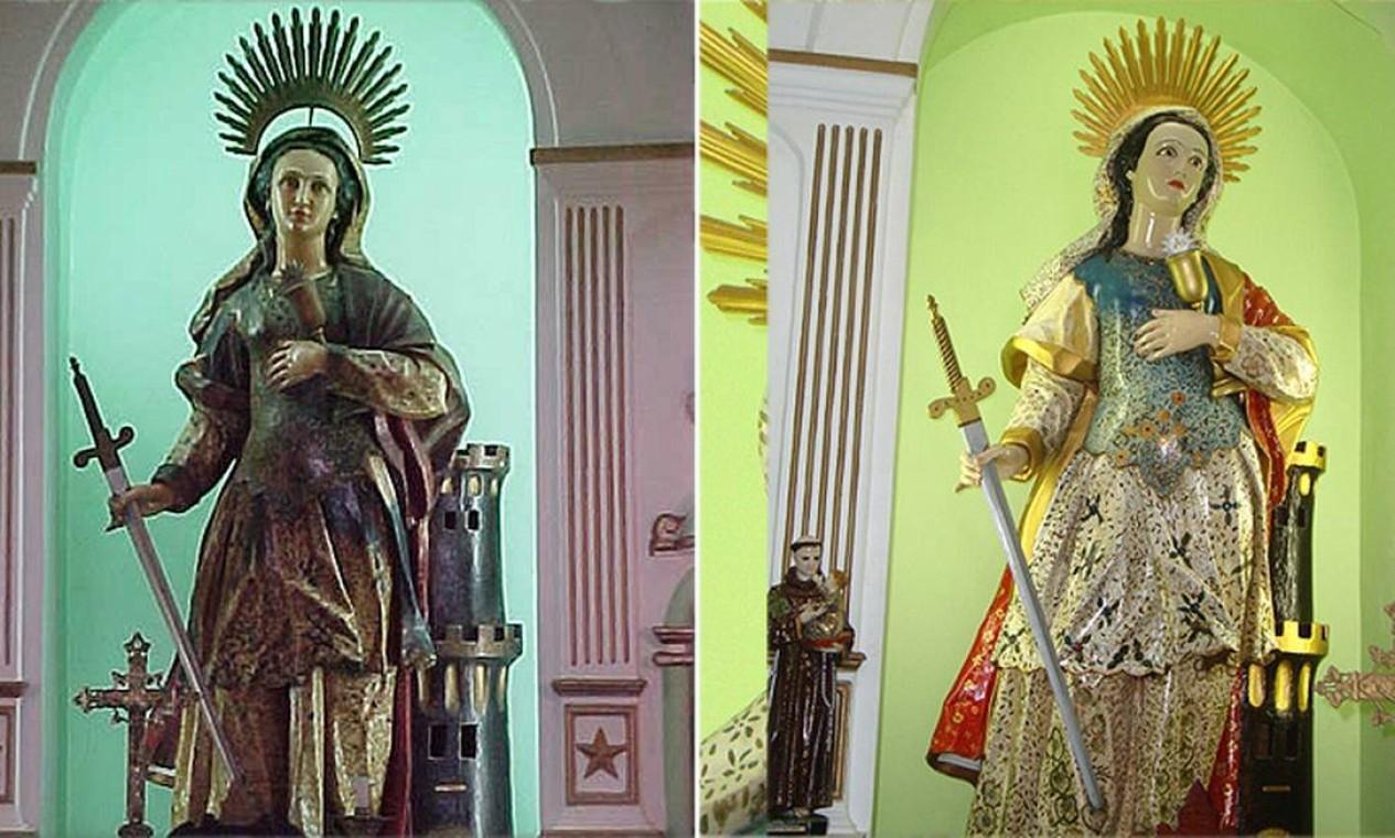 A imagem de Santa Bárbara do altar principal da Fortaleza de Santa Cruz em Jurujuba, Niterói, passou por um restauro polêmico Foto: Milton Teixeira / Divulgação
