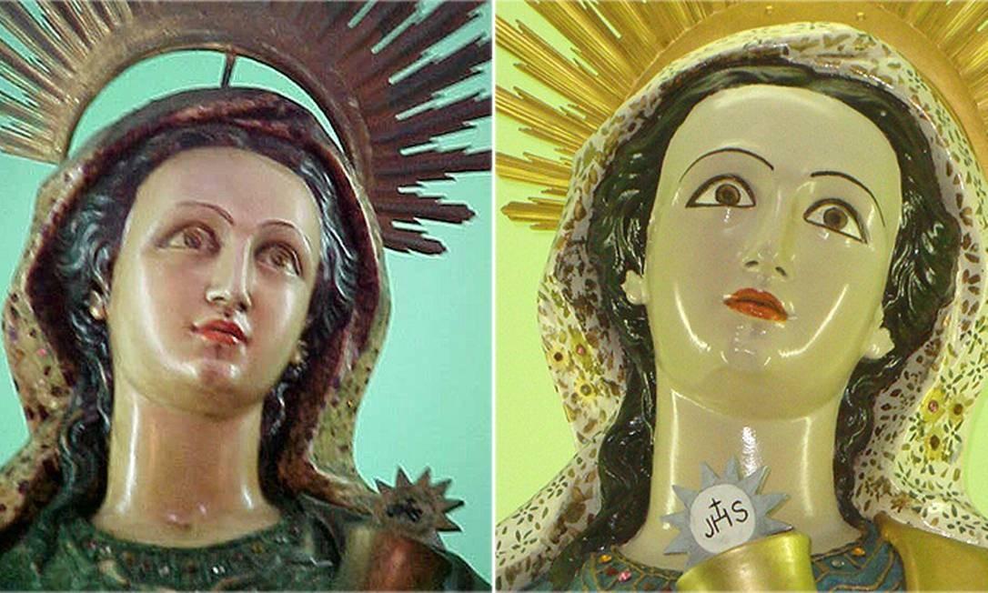 Os olhos da imagem de Santa Bárbara ficaram muito diferentes dos originais Foto: Milton Teixeira / Divulgação