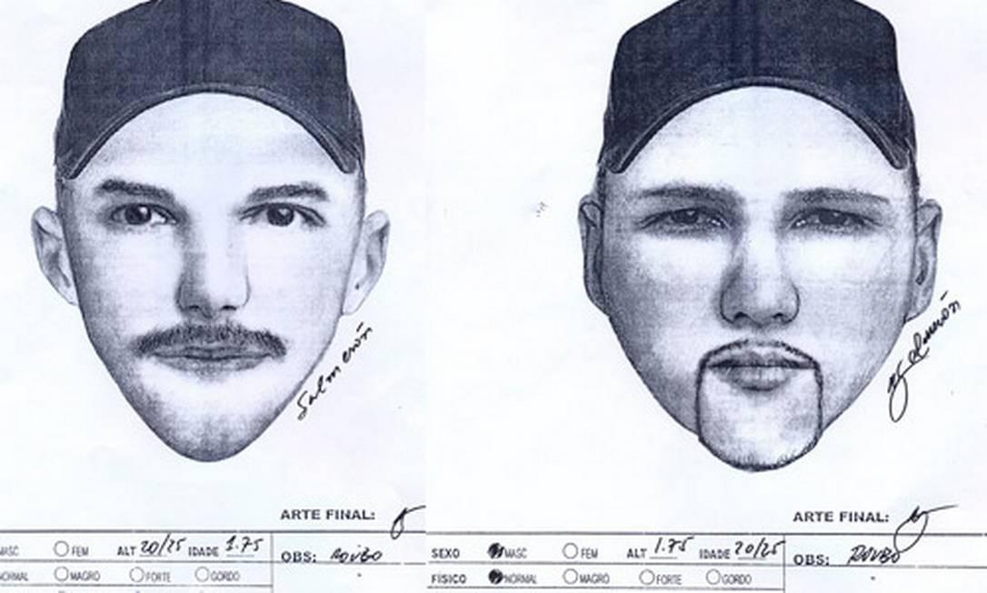 Retratos falados de dois dos cinco homens que roubaram carro na Ilha Foto: Polícia Civil / Divulgação
