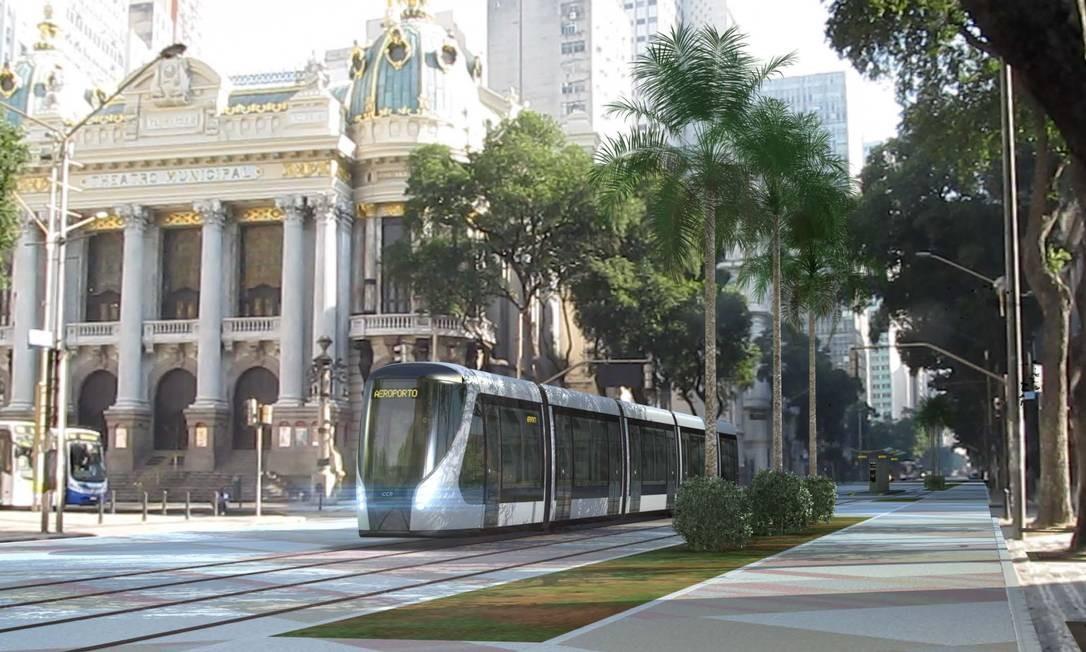 Novo transporte . Simulação mostra como ficaria o VLT na Avenida Rio Branco: projeto prevê seis linhas no Centro Foto: Divulgação