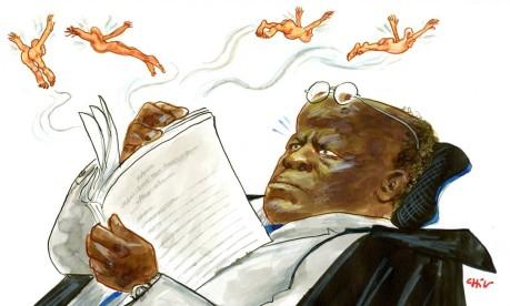 Processo. Charge do ministro Joaquim Barbosa em sua cadeira no STF, durante a reta final do julgamento do mensalão Foto: Chico Caruso 22/10/2012 / Agência O Globo