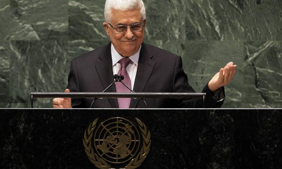 O presidente da Autoridade Nacional Palestina, Mahmoud Abbas, durante discurso na ONU Foto: AP/Richard Drew