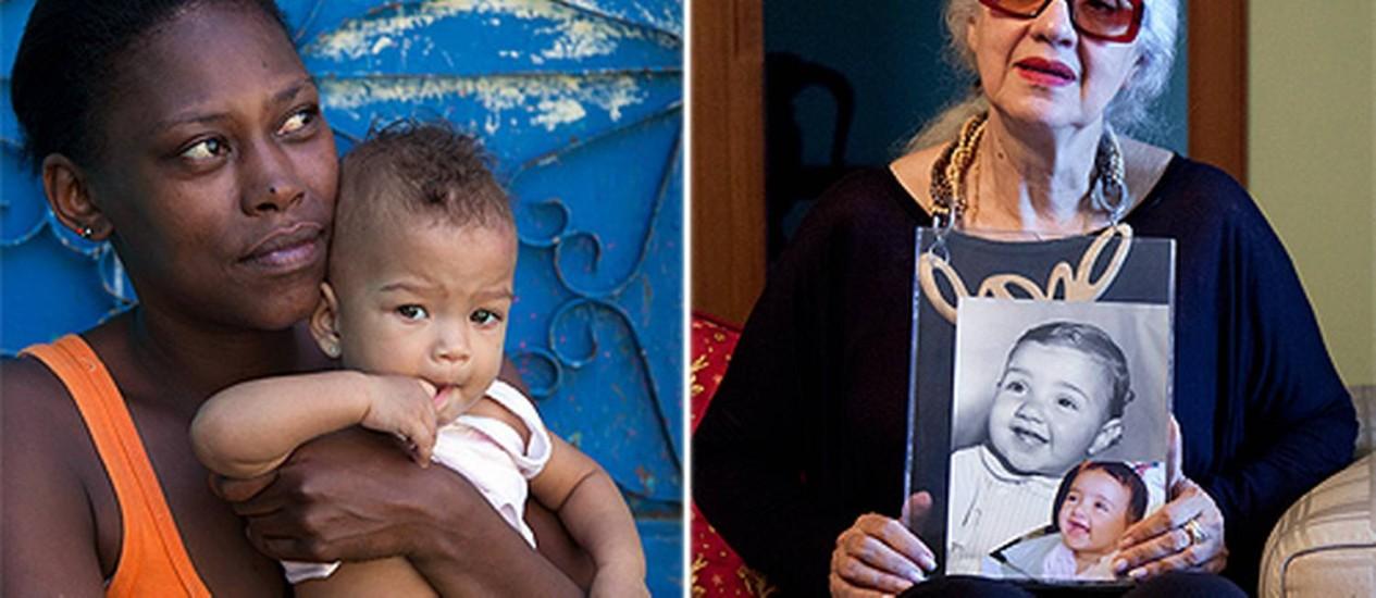 À esquerda, Edna, que mudou de endereço, com a filha no colo; à direita, Dona Norma com fotos de Leonardo ainda bebê Foto: Mônica Imbuzeiro / O Globo
