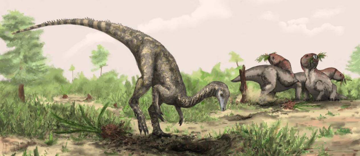 Ilustração mostra como seria o Nyasasaurus parringtoni, que cientistas acreditam ser o representante mais antigo da família dos dinossauros Foto: Natural History Museum, London / Mark Witton