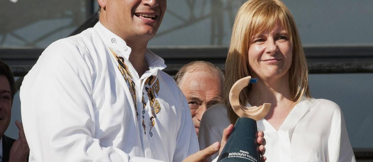 Presidente equatoriano, Rafale Correa, receve prêmio em Buenos Aires Foto: REUTERS/Jorge Luperne