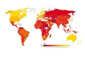 Mapa: Quanto mais vermelho o país, maior a percepção de corrupção. Foto: Transparência Internacional / Reprodução