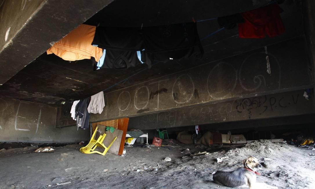 Embaixo do viaduto existe até varal com roupas e cachorros que são mantidos pelos moradores de rua Pablo Jacob / O Globo