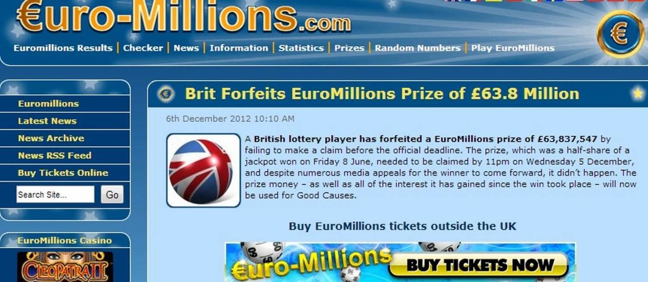 Página da loteria Euro-Million Foto: Reprodução