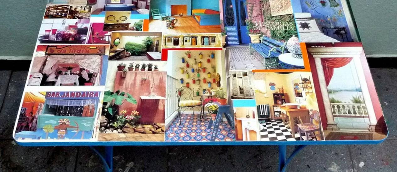 Recortes de revista revestem o tampo da mesa Foto: Divulgação/Além da Rua Atelier