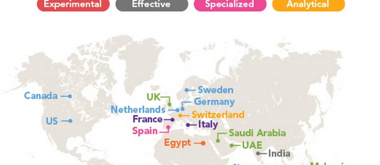 Mapa mostra os chavões mais usados nos perfis profissionais do LinkedIn em vários países Foto: Reprodução/LinkedIn