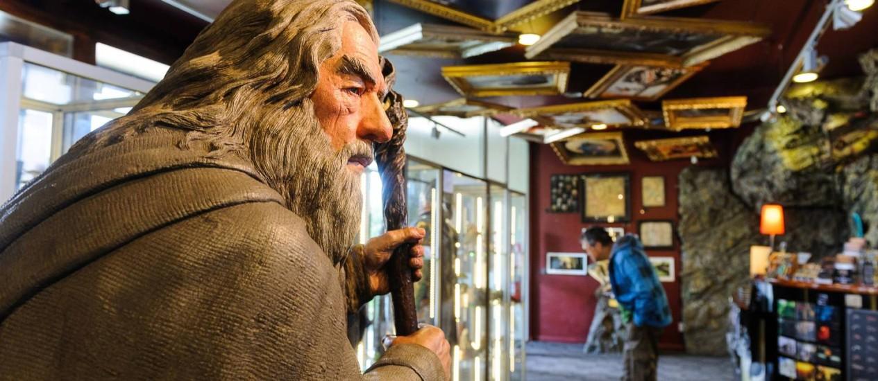 Loja-museu. No Weta Cave se encontram os fãs dos filmes da série Foto: Mark Coote / The New York Times